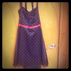 Black & Red Polka Dot Halter Dress